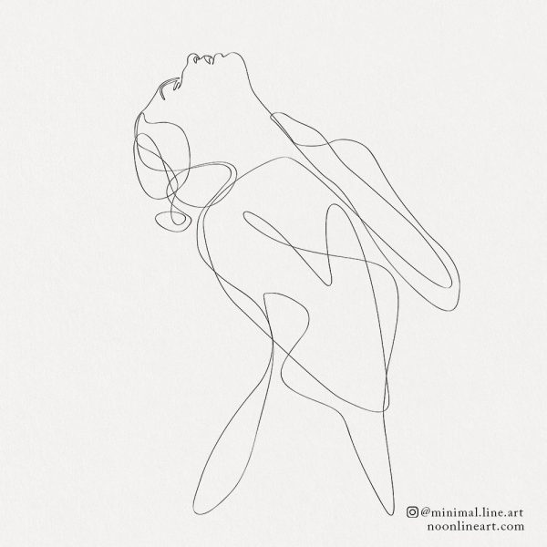 Woman abstract line art simple tattoo design