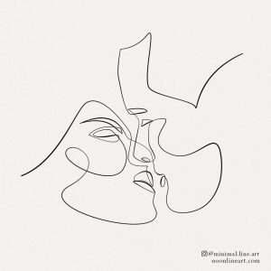 couple-face-kissing-line-art-abstract-tattoo