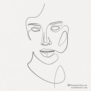 minimalist-line-tattoo-of-woman-face-abstract-drawing