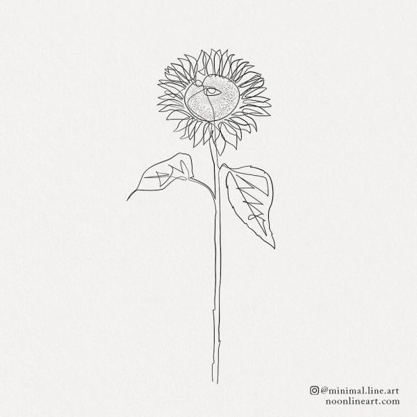 sun-flower-minimal-line-art-tattoo