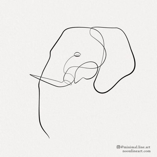one line elephant tattoo simple design