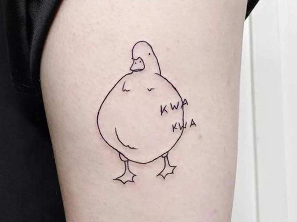 fat duck doodle tattoo funny