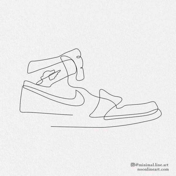 nike sneaker line tattoo simple